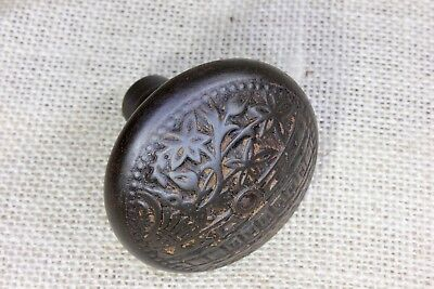 "Door knob old square 5/16"" shaft antique rustic cast iron vintage 1800's leaves"