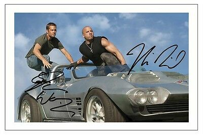 Paul Walker & Vin Diesel Fast And Furious 1 - 7 Signed Autograph Photo Print