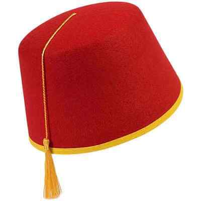Red Fez Hat Ottoman Military Fancy Dress Up Halloween Adult Costume Accessory