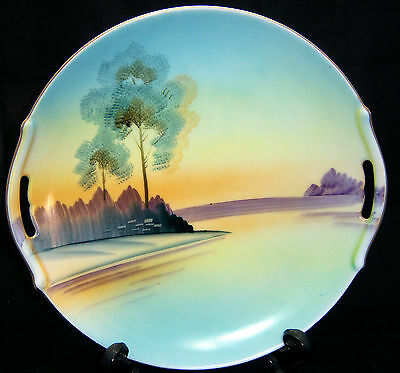 """Vintage Meito Hand Painted Handled 9"""" Plate"""