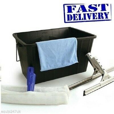 Professional 6 Piece Window Cleaning Kit Wash Bucket Squeegee Microfibre Cloth