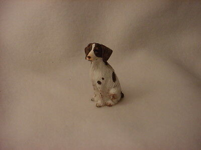BRITTANY liver white Dog HAND PAINTED FIGURINE Resin MINIATURE Spaniel Sm Mini