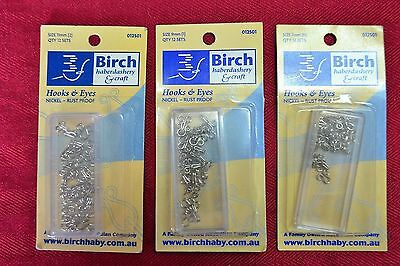 BIRCH SIZE 1, 2, 3 - HOOKS & EYES (3 sets)