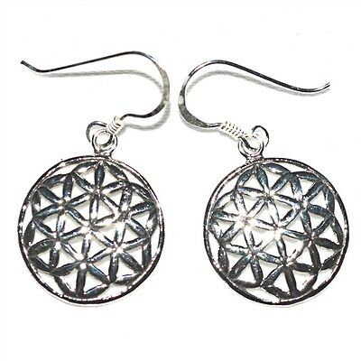 Flower of Life 925 Silver Medium Drop Earrings~Sacred Geometry~Pagan~Jewellery