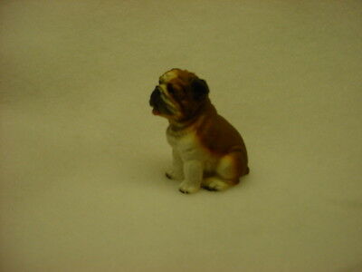 BULLDOG brown puppy TiNY DOG Figurine HAND PAINTED MINIATURE resin NEW Statue