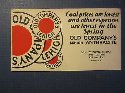 Old 1940's MG MENTZER'S Sons - COAL Lumber - Advertising Blotter - EPHRATA PA.