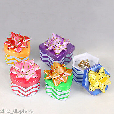 Lot Of 12 Ring Boxes Chevron Jewelry Gift Boxes Showcase Display Hat Ring Boxes
