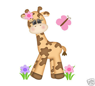 Safari Animal Nursery Giraffe Decal Baby Girl Mural Wall Art Jungle Stickers