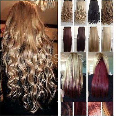 """Blonde 24"""" Best Synthetic Clip in HAIR EXTENTION half head one piece 5 CLIPS"""