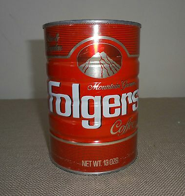 Vintage Folger's Empty Metal Coffee 13 Oz Perc Regular Coffee Can Tin 1984