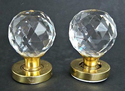 Beautiful Victorian Style Faceted Clear Cut Glass & Brass Door Knob Handle Set