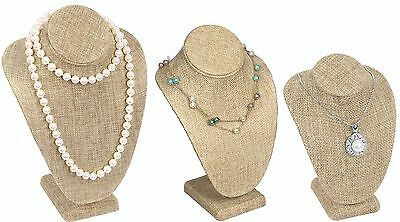 Modern Burlap Necklace Display Bust  Showcase Display Jewelry Bust Stand