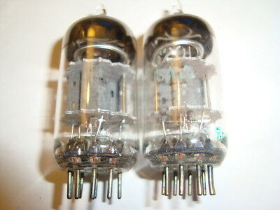 Pair Used Heavy Duty JAN 12AT7WC 6201 Tubes By GE 4 Pole
