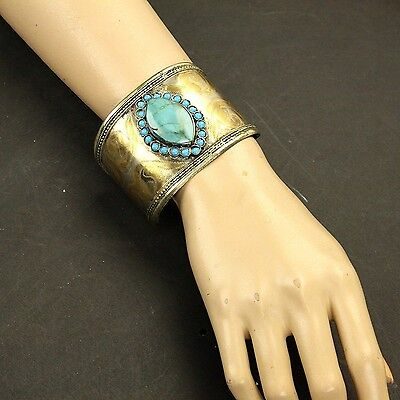 Single Turkman Tribal Gold Plated BRACELET BellyDance Real TURQUOISE Stone 838a6