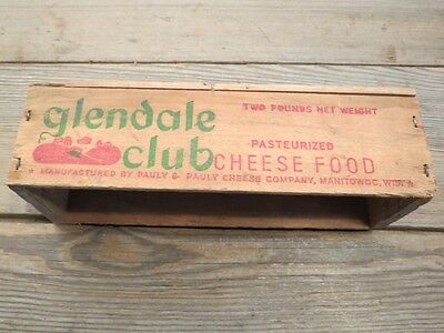 Wood cheese box Glendale club food vintage old farm scene good graphics rustic