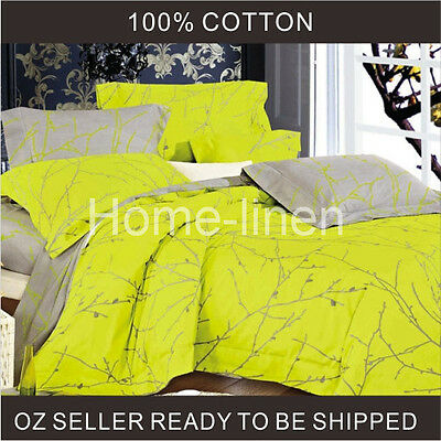 100% Cotton Printed Doona/Quilt/Duvet Cover Set King/Queen/Double - Prunus