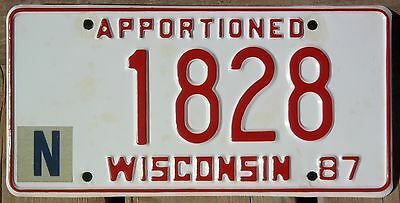 Wisconsin 1987 APPORTIONED TRUCK license plate (retouched)!
