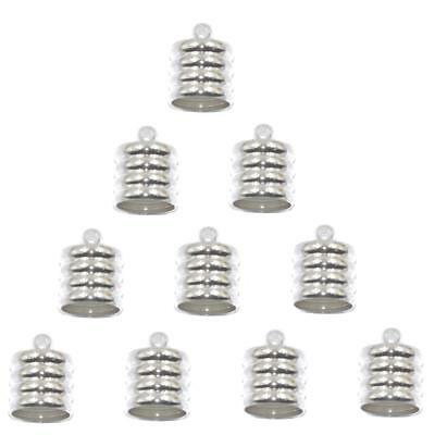 10x CORD END BEAD CAPS TIPS for KUMIHIMO Bracelets Jewelry Craft Silver