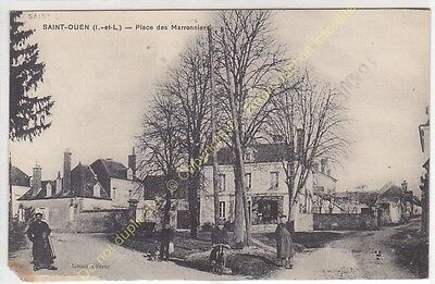 CPA 37530 SAINT OUEN Place des Marronniers animée Edit SIMON ca1917