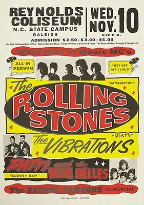 RR13 Vintage Rolling Stones Rock & Roll Concert Music Advertisement Poster A3/A4