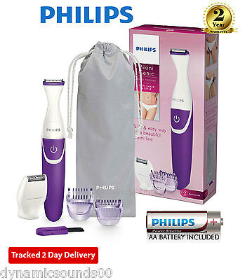 Philips BikiniGenie Wet & Dry Ladies Bikini Trimmer, 2 Click-on Combs BRT383/15