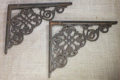 "2 Shelf support brackets 6X 8"" old clover flower vintage 1880's rustic cast iron"