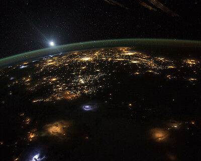 EARTH MOONRISE OVER UNITED STATES SEEN FROM ISS 8x10 PHOTO NASA 2015
