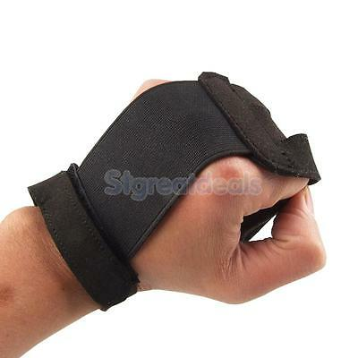 Adjustable Black Archery 3 Finger Arrow Bow Shooting Hunting Protector Glove