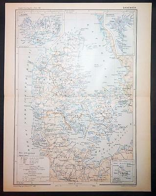 1891 ANTIQUE PRINT COLOUR MAP of DANEMARK Denmark ICELAND Faroe Islands FRENCH