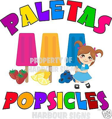 "Paletas Popsicles Popsicle Fruit Concession Cart Food Truck Van Decal 24""  Menu"