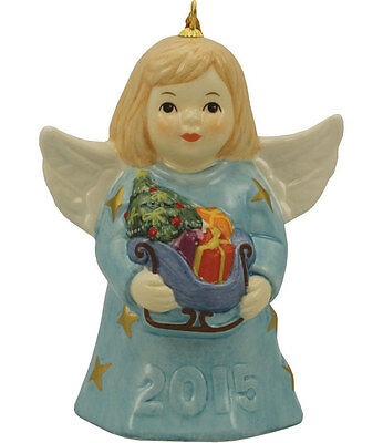 Goebel Angel Bell 2015 NIB Ice Blue Dress Angel Holding Sleigh 110301 NEW IN BOX