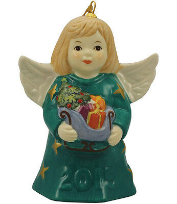 Goebel Angel Bell 2015 NIB Teal Dress Angel Holding Sleigh 110302 NEW IN BOX