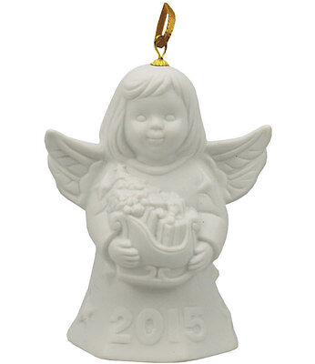 Goebel Angel Bell 2015 White Bisque NIB Angel Holding Sleigh 110304 NEW IN BOX