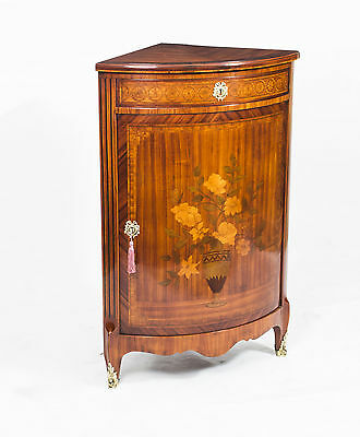 Antique Rosewood & Satinwood Marquetry Low Corner Cabinet c.1860