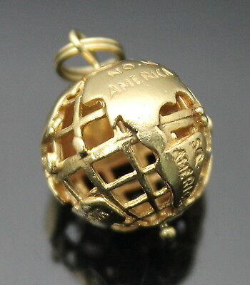 Estate Vintage Pierced The Earth Ball Solid 14K Yellow Gold Charm / Pendant
