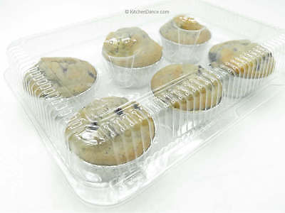 6 Count Plastic Hinged Extra Large Muffin Containers/Dessert Cup Carriers #CPC76
