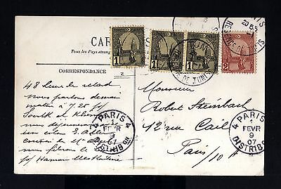 8305-TUNISIA-OLD POSTCARD TUNIS to PARIS (france)1907.FRENCH COLONIES.Carte post