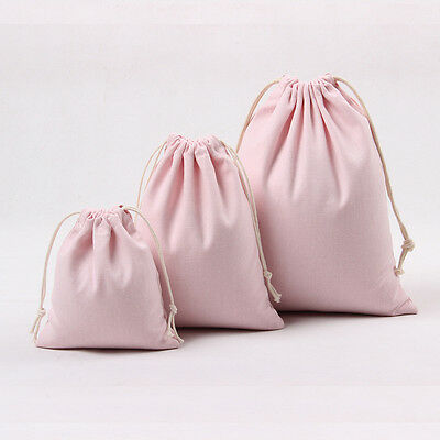 Cotton Canvas Draw String Storage Bag Candy Gift Bag Solid Light Pink N011 B#
