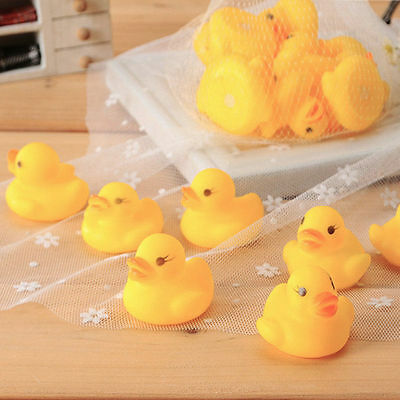 10pcs Baby Bathing Bath Tub Toys Mini Rubber Squeaky Float Duck Yellow GK~