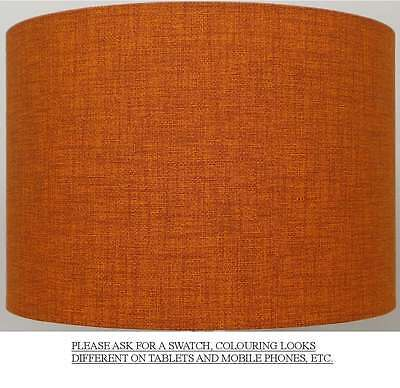 Burnt Orange / Rust Linen Style Cylinder / Drum Lampshade Ceiling Light / Table