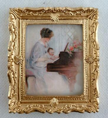 Dolls House Miniature Accessory First Piano Lesson Picture Painting Gold Frame
