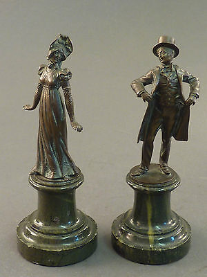 PAIR OF C19th BRONZES OF MAN AND WOMAN ON SERPENTINE MARBLE BASES