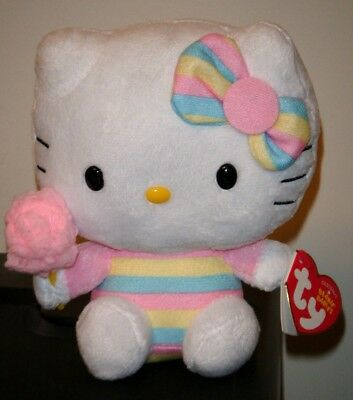 """Ty Beanie Baby ~ HELLO KITTY 6"""" Cotton Candy ~ 2014 NEW ~ MINT with MINT TAGS"""