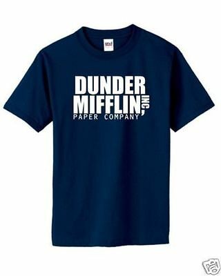 DUNDER MIFFLIN T-Shirt Classic The Office Dwight Graphic Logo Tee S-5XL New!