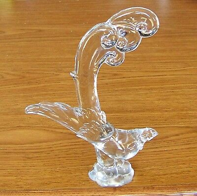 Vintage Heisey Clear Crystal Glass Asiatic Pheasant Marked H Circa 1945-55
