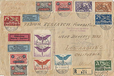 Stamps Switzerland on 1928 cover sent registered express airmail to USA, rare