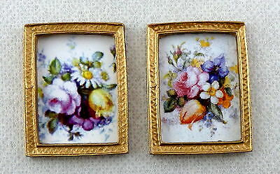 Dolls House Miniature Accessory 2 Flower Pictures Paintings in Gold Frames