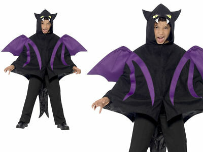 Hooded Cape Halloween Creatures Bat Cape Fancy Dress Sizes SM,ML