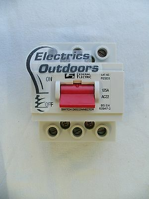 Federal Electric 125 Amp Triple Pole Main Switch Disconnector Fesd3 Ac22