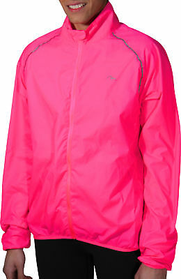 More Mile Womens Wind Ladies Running Jacket Fitness Rain High Visibility Pink
